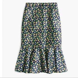 J. Crew Trumpet Skirt in Lemon Jacquard Size 14
